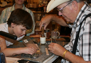 Tooling Bracelets for People at Cowboy Day 2008